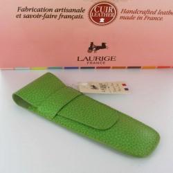 Etui Cuir Laurige® Pistache 2 Stylos