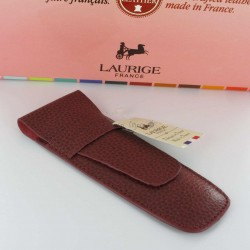 Etui Cuir Laurige® Bordeaux 2 Stylos